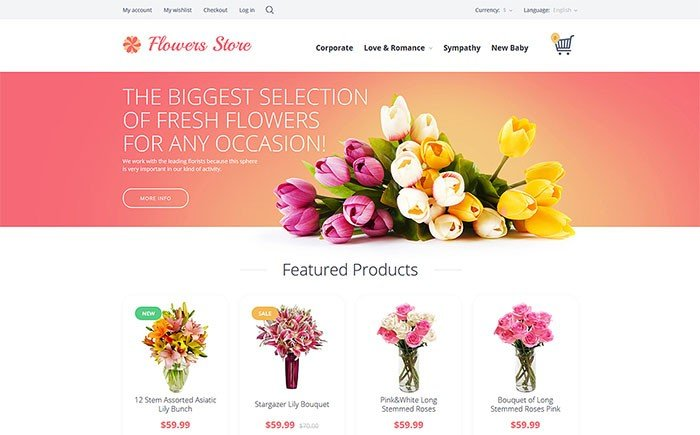 Flowers Store OpenCart Template