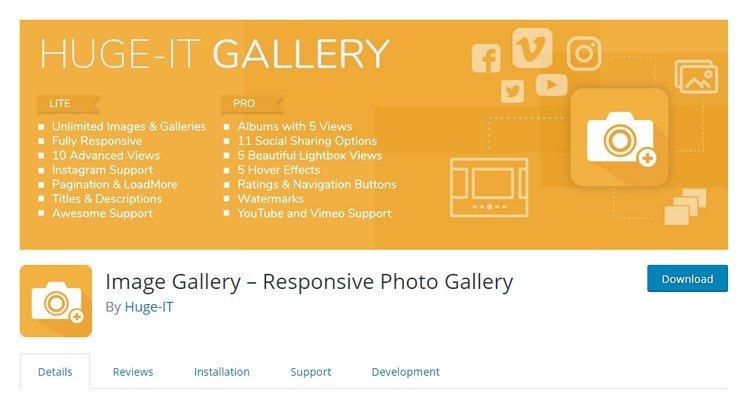 This plugin also offers different gallery layouts to make your website beautiful.