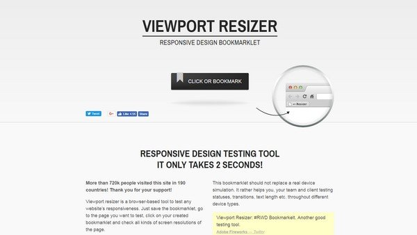 Viewport Resizer is a multi-browser supporting bookmarklet.
