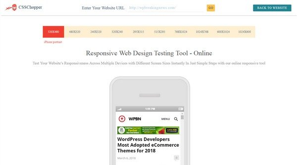 Websiteresponsivetest.com supports all the major browsers available.