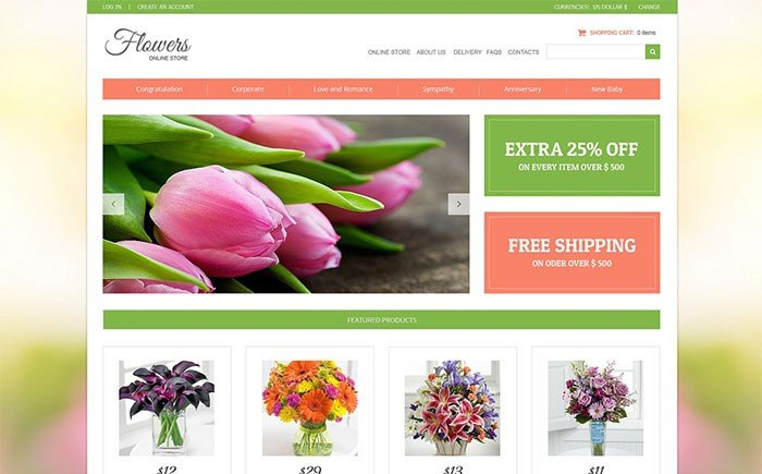 Flower Shop VirtueMart Template