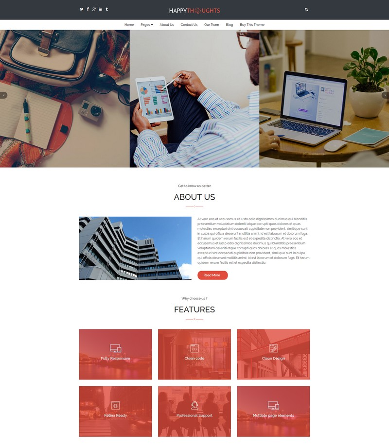 Happy Thoughts – A Professional WordPress Theme for Business