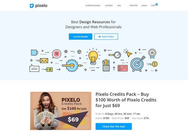 Pixelo is a website for graphic designers and other creatives.