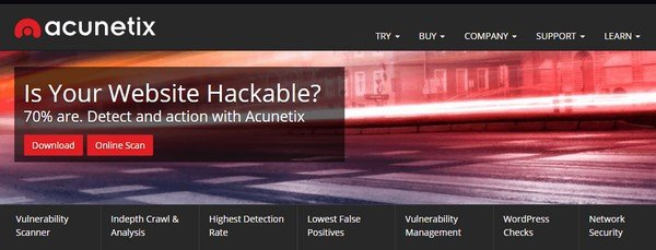 Acunetix provides complete vulnerability scan for WordPress websites.