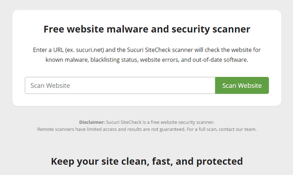 Securi SiteCheck is a free and remote scanner.