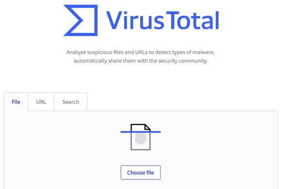 Virus Total checks your website for any possible security threats to your website..