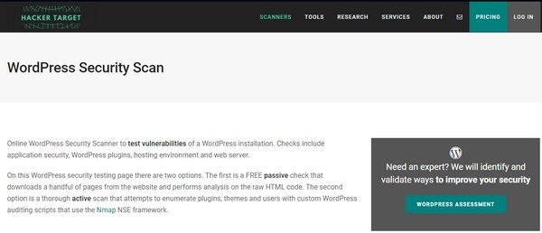 WordPress security scan will analyze the WordPress website for security applications.