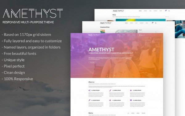 Freebies - With Amethyst Responsive PSD Template you create portfolios, blogs and creatives.