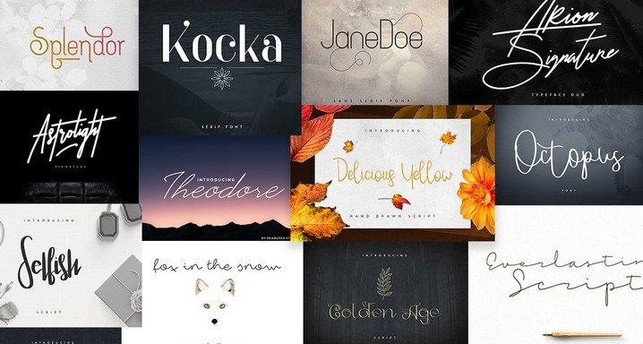 Pixelo Signature Fonts Bundle: 55 Amazing Fonts for All Your Design Needs