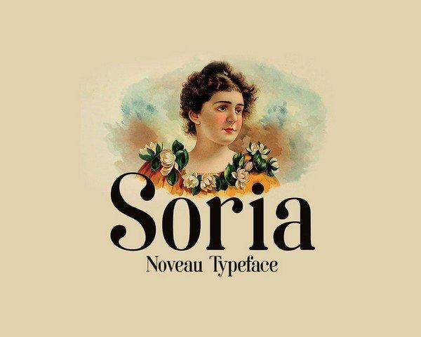 Soria is a free Noveau Typeface font.
