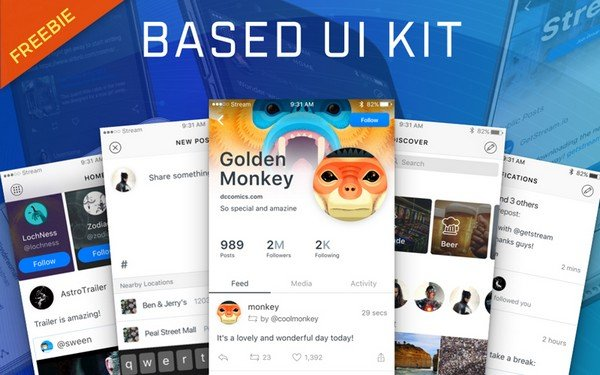 This flexible and significant Social Media UI Sketch Kit