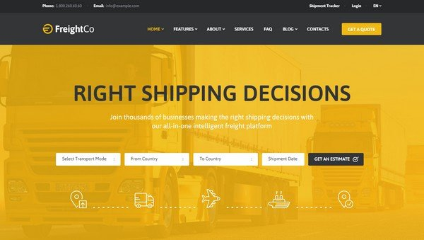 Pick a WordPress theme such as FreightCo that supports popular plugins.