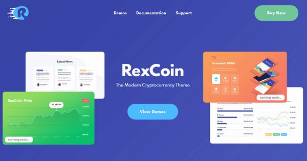 RexCoin is a WordPress theme that is perfect for cryptocurrency and financial blogs.