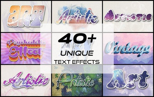 The 40 unique text effects helps you boost your artistic capabilities.