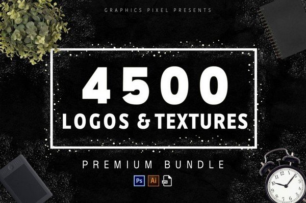 The 4500 Logos and Textures Bundle is a bundle with over 2200 editable logo files.