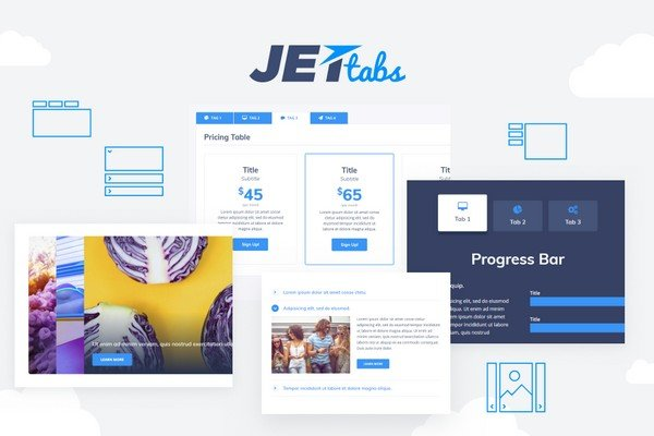 With the JetTabs widget, you can add the templates built with Elementor into tabs and accordion blocks.