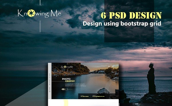 KnowingMe is a multipurpose photographer portfolio PSD theme.