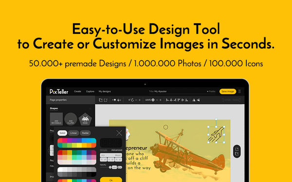 PixTeller is an online design tool used for creating banners.