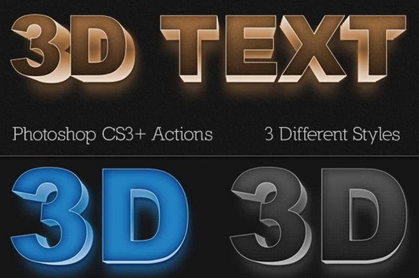Mighty Design Bundle - 3D Photoshop action text.
