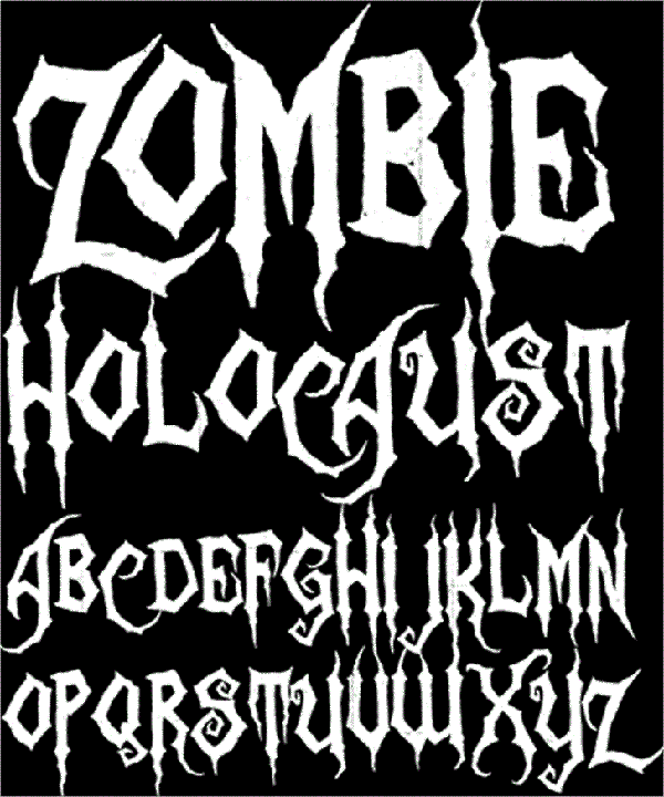 Zombie Holocaust font is perfect for Halloween designs.