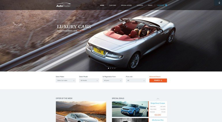 AutoTrader is a great looking, responsive auto WordPress theme.