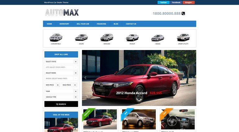 With Automax you can build a completely working automobile business site.