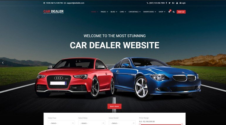 Car Dealer is the perfect vehicle vendor WordPress theme.