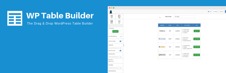 WP Table Builder is a responsive drag and drop table WordPress plugin.