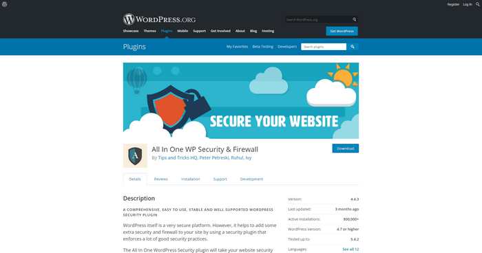 All-In-One WP Security and Firewall is a plugin to protect your websites from vulnerabilities.