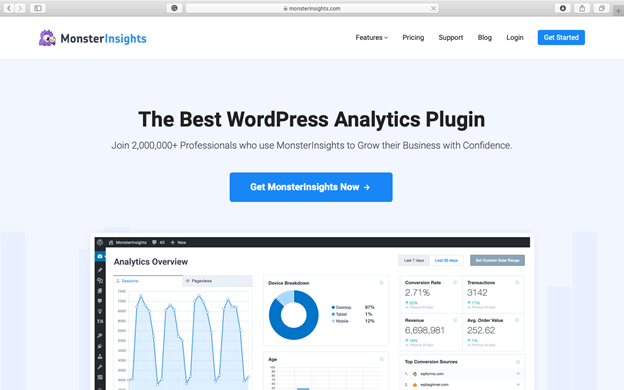 Best WordPress Plugins for Your Small Business Website - MonsterInsights will make your Google Analytics appear on your WordPress dashboard.