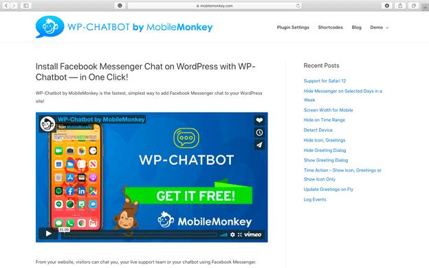 MobileMonkey' WP-Chatbot