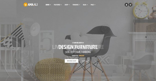 Ama. Ali is a clean and modern WordPress theme for furniture.