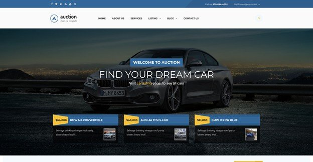 Auction is an elegant WordPress auction theme specially designed for car dealers.