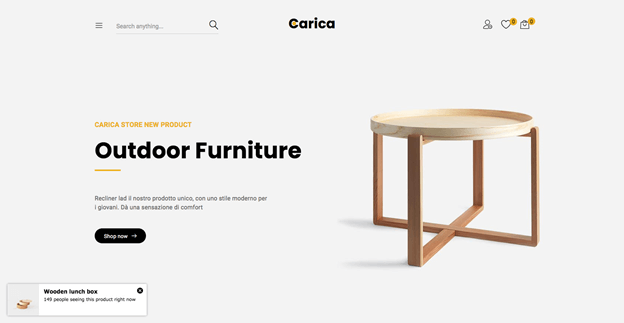 Carica is a great looking WordPress WooCommerce theme for handmade furniture shops.