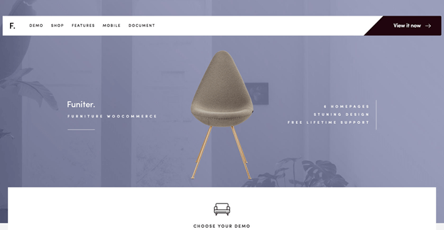 Funiter is an elegant and modern WordPress theme for furniture shops.
