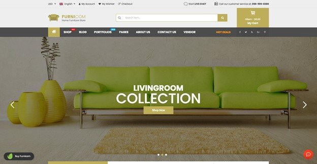 Furnicom is a feature-rich furniture shop theme for WordPress.