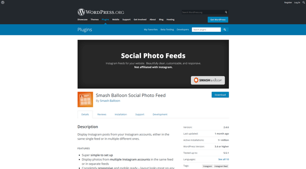 Smash Balloon Social Photo Feed is a simple plugin that lets you connect your website with your Instagram account.