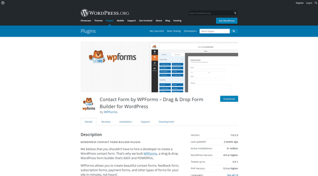 WP Forms is one of the most popular WordPress form builder plugins.