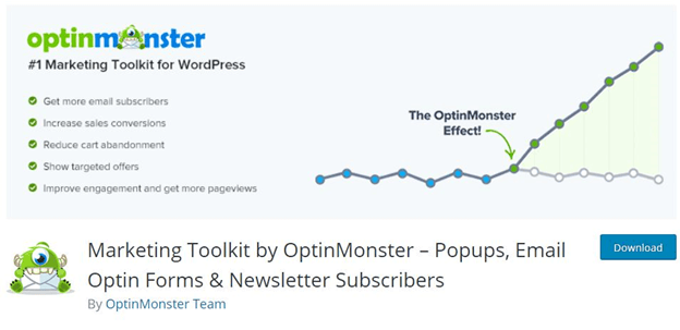 OptinMonster gives you both form and function to your newsletters.