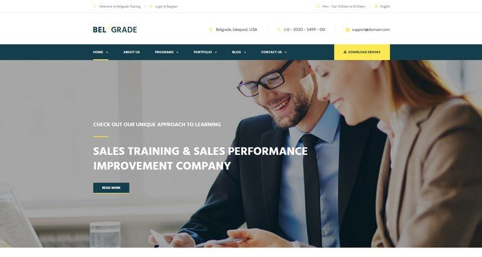 Belgrade is a premium WordPress theme suitable for all kinds of training and business.