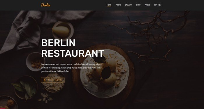 Berlin is a free WordPress theme from Pojo.me designed for restaurants.