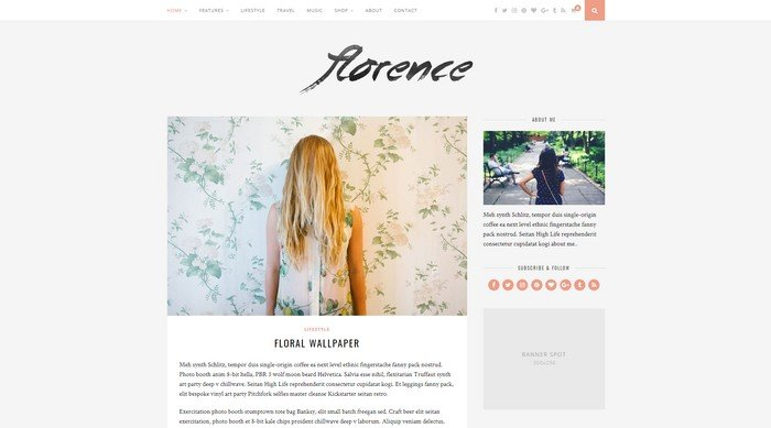 Florence is a beautiful WordPress theme in classic blog style.
