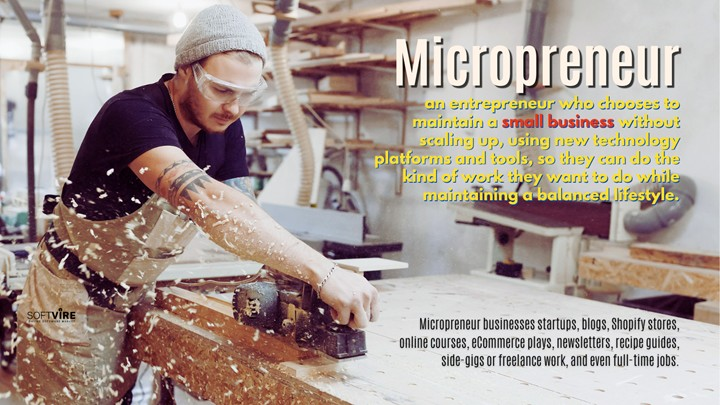 Micropreneurs are entrepreneurs who run a small business without expanding it.