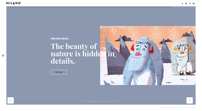 WordPress Themes Named After Cities Worldwide - Milano is a creative and minimal portfolio theme from BeantownThemes.