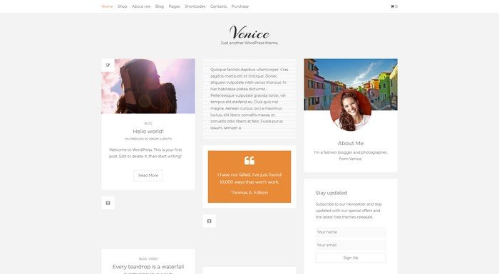 WordPress Themes Named After Cities Worldwide - Venice Lite is a free WordPress theme from ThemeinProgress.