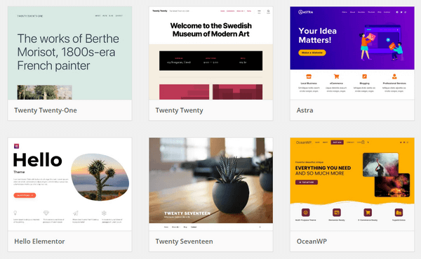 WordPress has a vast library of themes.