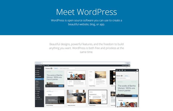 WordPress is it's free to use.